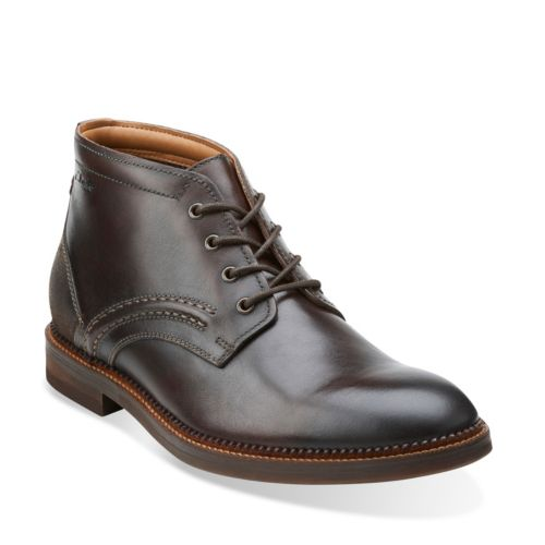 Mens Clarks Bushwick Mid Boots Dark Brown Leather ZLG66888