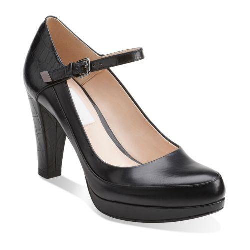CLARKS Womens Shoe Calla Rose Black 8.0 E