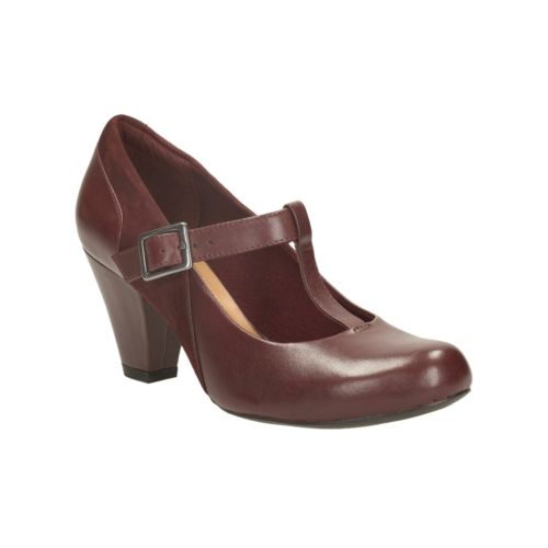 Clarks Womens Smart Clarks Coolest Lass Leather Shoes In Burgundy