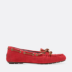Cow Suede Moccasin Red womens-slippers