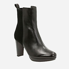 Womens Black Leather Ankle Boots