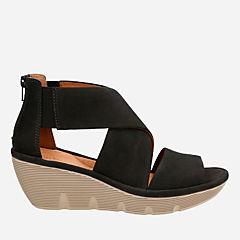 Clarene Glamor Black Nubuck womens-sandals-wedge