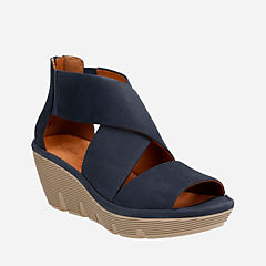 Clarene Glamor Navy Nubuck womens-sandals-wedge