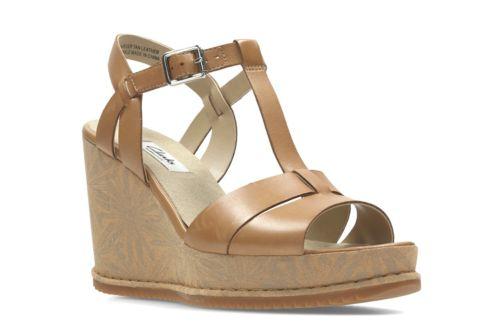 Adesha River Tan Leather womens sandals wedge