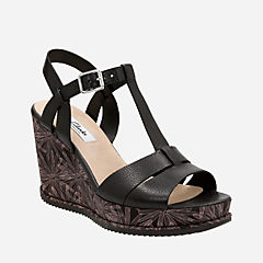 Adesha River Black Leather womens-sandals-wedge