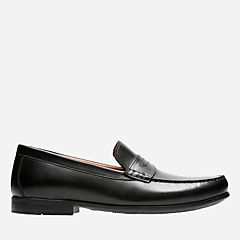 Claude Lane Black Leather mens-loafer-slip-on