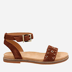 Corsio Amelia Dark Tan Suede womens-flat-sandals