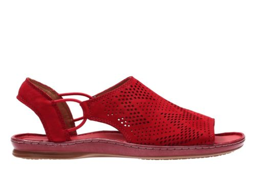 Sarla Cadence Red Nubuck Womens Flat Sandals Clarks