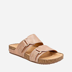 Rosilla Tilton Dusty Pink Metallic Leather womens-flat-sandals