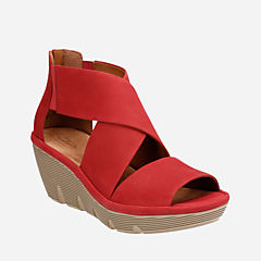 Clarene Glamor Red Nubuck womens-sandals-wedge