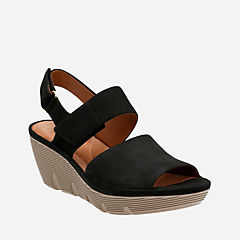 Clarene Allure Black Nubuck womens-sandals-wedge