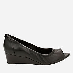 Vendra Daisy Black Leather womens-wedges