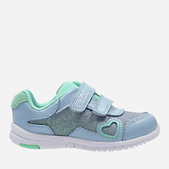 Azon Maze First Denim Blue Leather girls-sneakers