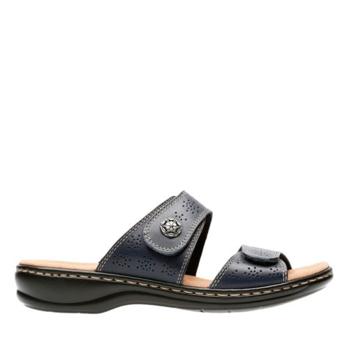 Leisa Lacole Navy Leather Womens Slide Sandals Clarks