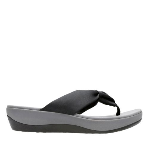 Arla Glison Black Fabric womens-flip-flops-sandals