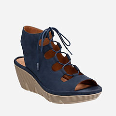 Clarene Grace Navy Nubuck womens-sandals-wedge