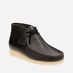Wallabee Boot Charcoal Leather mens-boots