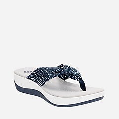 Arla Glison Navy w/White Dots Fabric womens-flip-flops-sandals