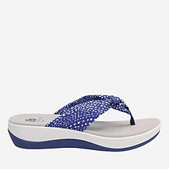 Arla Glison Blue with White Dots Fabric womens-flip-flops-sandals
