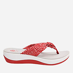Arla Glison Red with White Dots Fabric womens-flip-flops-sandals