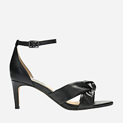 Amali Tulip Black Leather womens-heels
