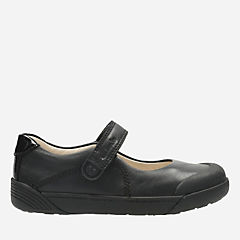 Lil Folk Bud Toddler Black Leather girls-shoes