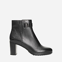 London Lights Black Leather womens-ankle-boots