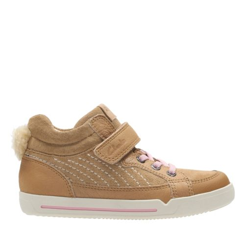 Lil Folk Boo Toddler Tan Leather Girls Sneakers