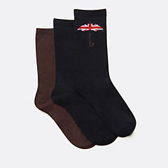 Mens 3-Pack Umbrella Socks  Black/Brown womens-accessories