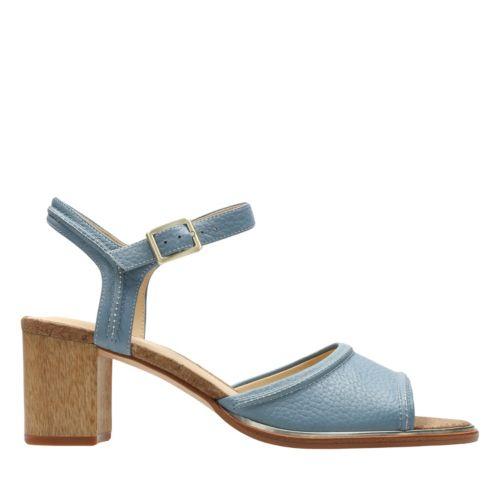 Retro Sandal History: Vintage and New Style Shoes Clarks Ellis Clara - Blue Leather - Womens 8 Medium $120.00 AT vintagedancer.com