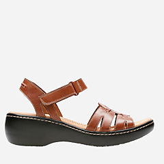 Delana Nila Dark Tan Leather womens-wide-width