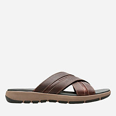 Brixby Cross Dark Brown Leather mens-sandals-slides