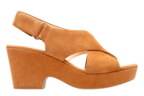 Retro Sandal History: Vintage and New Style Shoes Clarks Maritsa Lara - Tan Suede - Womens 6.5 Wide $130.00 AT vintagedancer.com