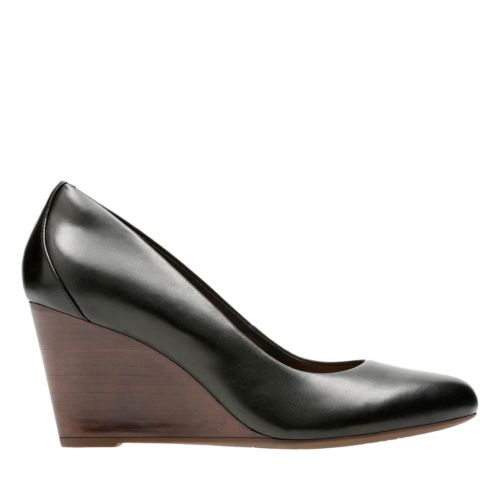 Raven Rise Black Leather womens-wedges
