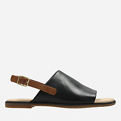 Bay Jasmine Black Leather womens-flat-sandals