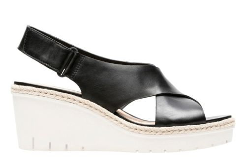 Palm Glow Black Leather womens-sandals-wedge