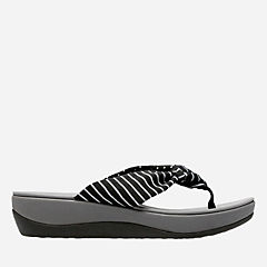 Arla Glison Black Printed Fabric womens-flip-flops-sandals