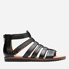 Kele Lotus Black Leather womens-flat-sandals