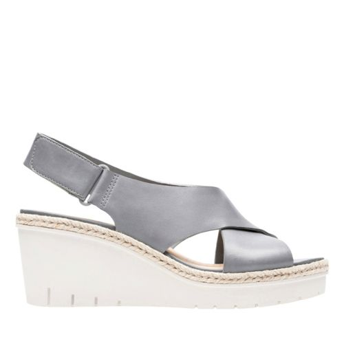 Palm Glow Grey Leather womens-sandals-wedge