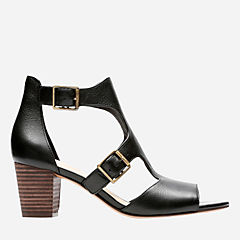 Deloria Kay Black Leather womens-heels
