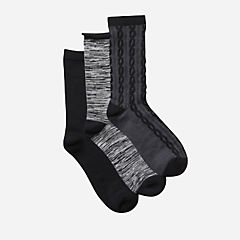 Womens 3-Pack Pattern Socks Black/Multi womens-accessories-view-all